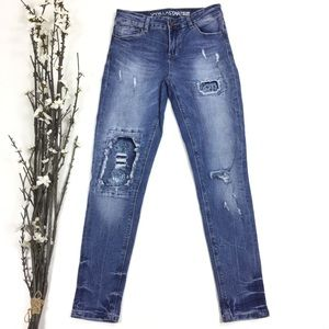 Distressed Embroidered Patched Skinny Jeans